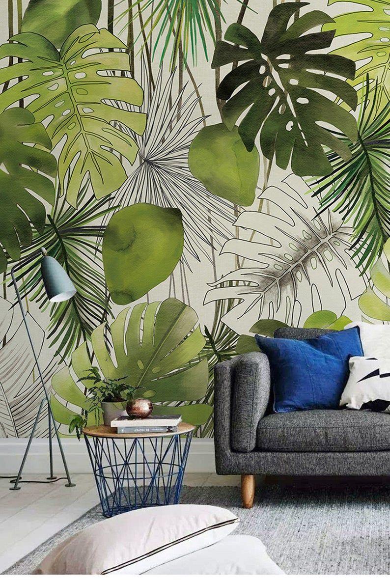 Southeast Asia Handpainted Watercolor Banan Leaves