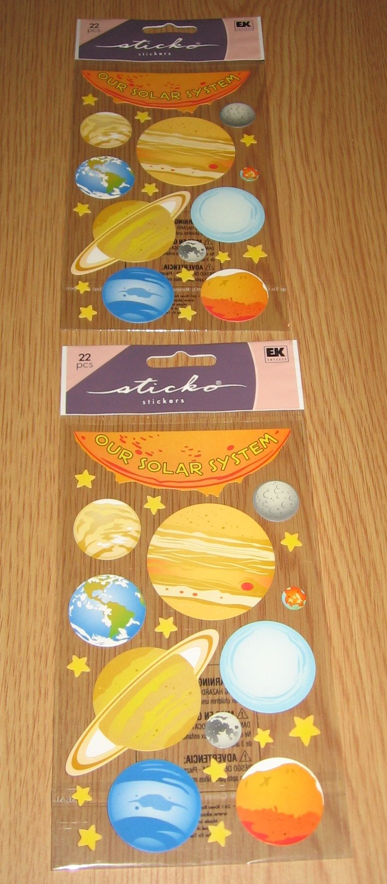 2 Sticko Stickers-Solar System in Saras' Garage Sale in Foresthill , CA for $2.25. I'm selling 2 packages of Sticko StickersTheme-Solar SystemI also sell on eBay and Yardsellr and have a good rating.I will ship 2 packages for 3.00. This will include shipping, delivery confirmation and shipping supplies.Any questions let me know.