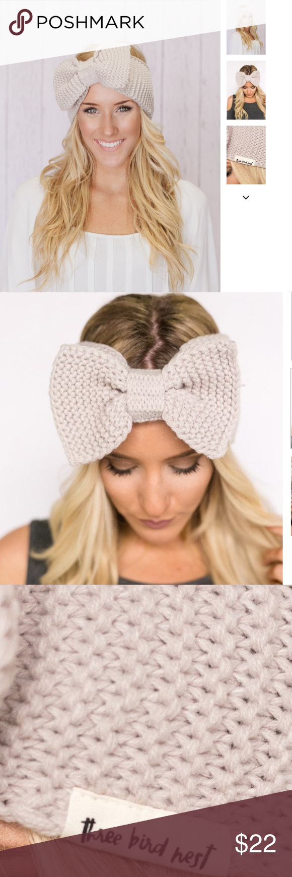 Coming soon! Knitted Bow Headband in Taupe Gorgeous winter essential!  Oversized Knitted Headband is a MUST!  Extra wide band and bow for girly accessorizing. One size fits most. Great neutral color. Three Bird Nest Accessories Hair Accessories