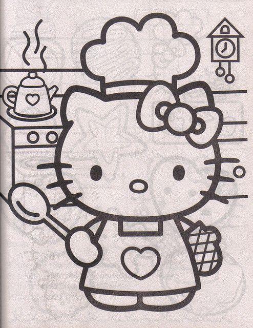 Chef Hello Kitty | Molde, Colorear y Dibujo