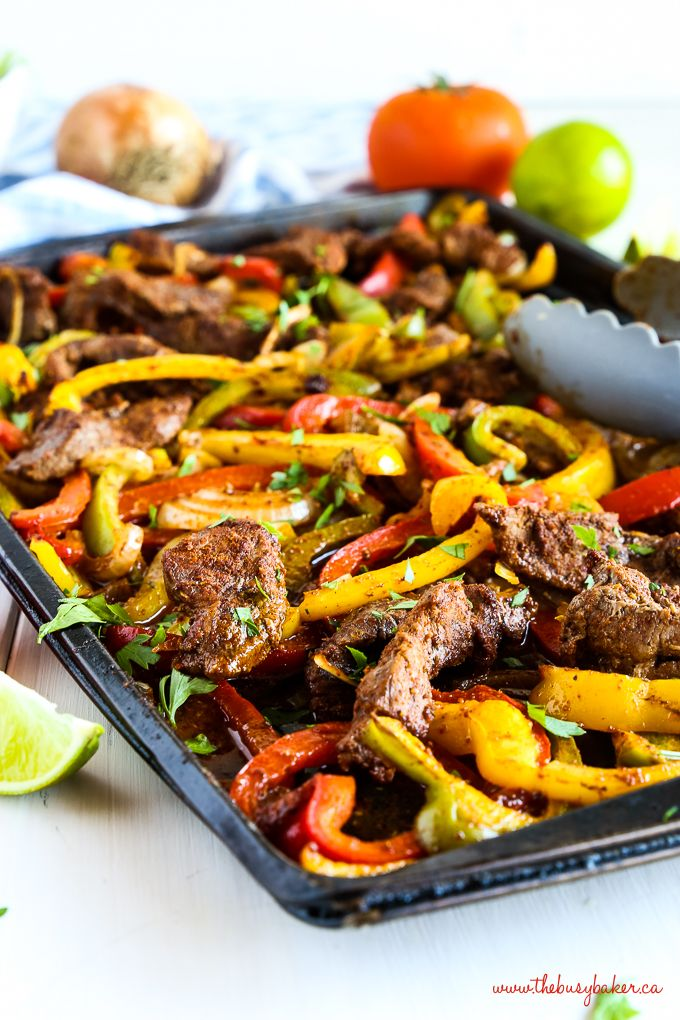 Easy Sheet Pan Steak Fajitas {Weeknight Meal} - The Busy Baker