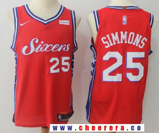 Men s Philadelphia 76ers  25 Ben Simmons Red 2017-2018 Nike Swingman  Stubhub Stitched NBA Jersey 58da591ac