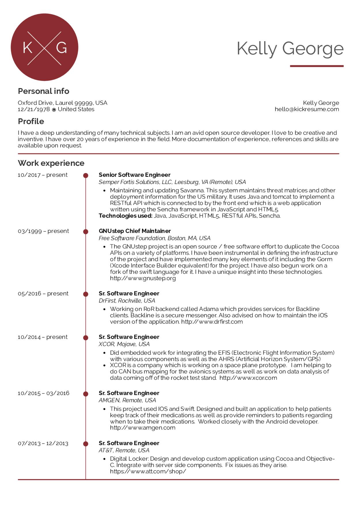 Software Engineer Resume Layout in 2020 Engineering