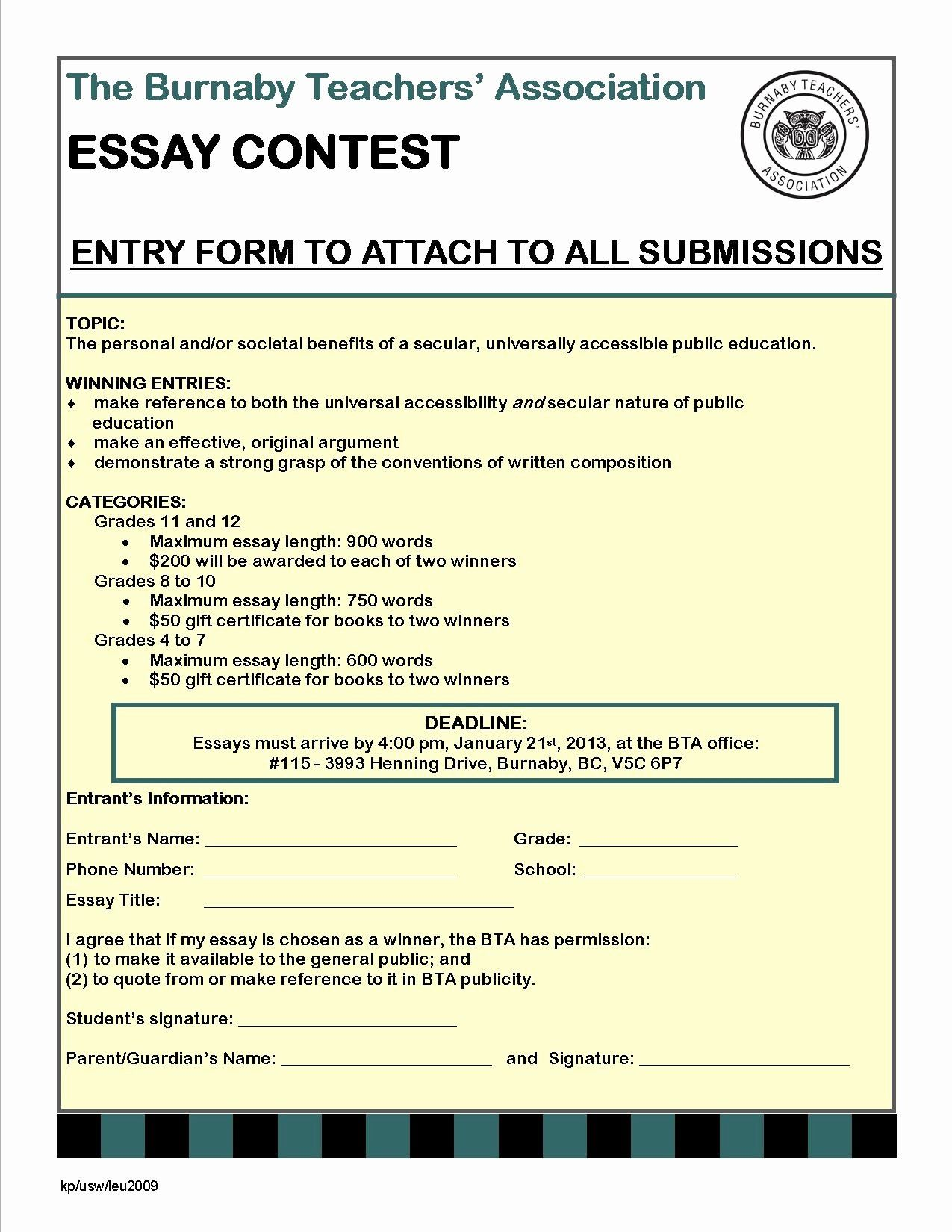 Contest Entry Form Template New Free Essay Contest Rules Template Programs Essay Contests Business Template Templates