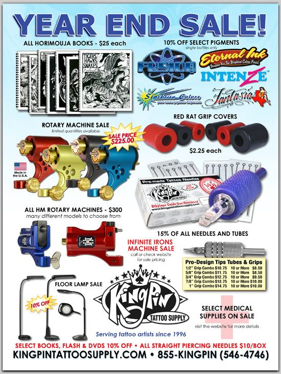 YEAR END SALE!! Kingpin tattoo, Tattoo supplies