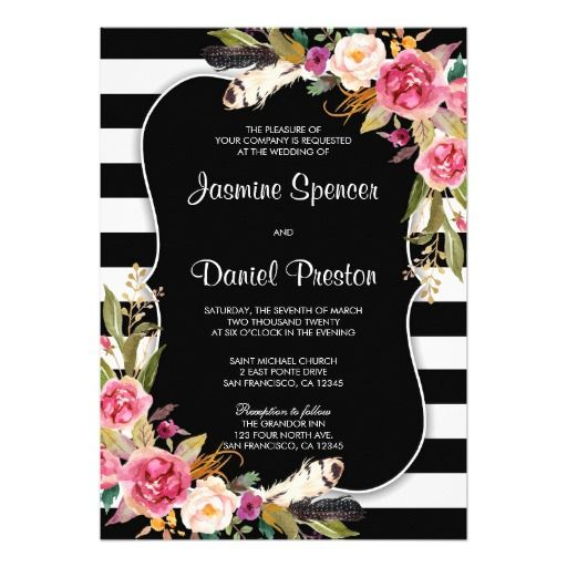 Fl Boho Chic Stripe Wedding Invitation With Black And White Striped Background Watercolor Flowers Feathers