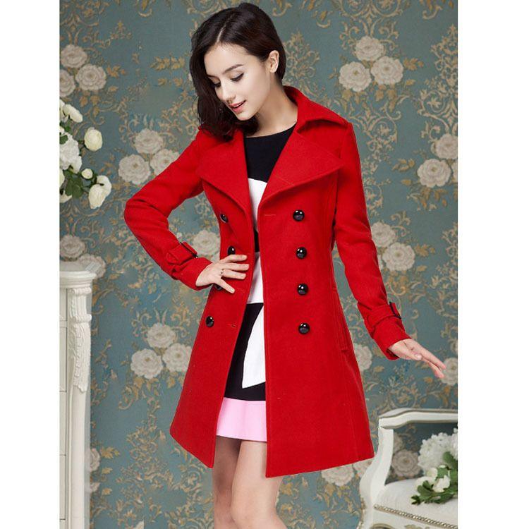 7e39ee5cb Barato Red mulheres inverno Casaco de lã com cinto fino Dabuwawa Casaco  Feminino elegante mulheres brasão