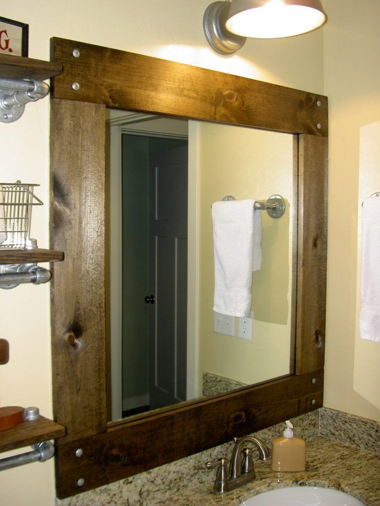 Grey Framed Bathroom Mirrors brown stained teak wood vanity framed mirrors with light over grey