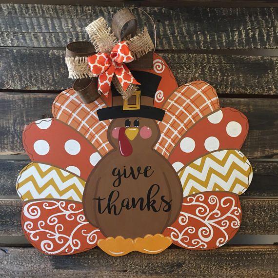 Decorative Wooden Turkey Door Hanger Door Hangers Diy Door Hanger Template Door Hangers