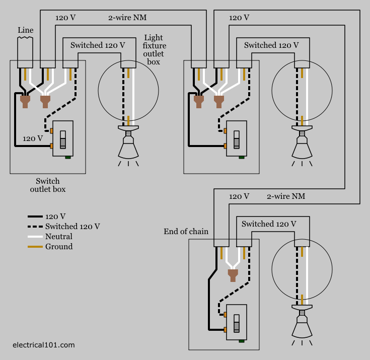 electrical wiring for multiple light switches