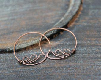 """Hoop earrings, minimalist hoops,  modern round earrings, sterling silver or copper hoop earrings """"Angel wings"""", wire wrap hoops"""