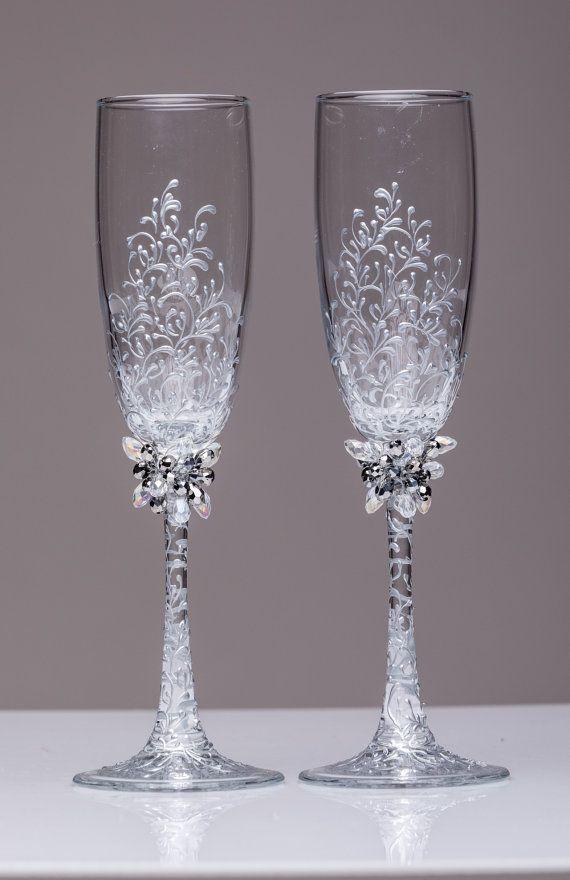 Personalized Wedding Glasses Toasting WeddingBohemianChic