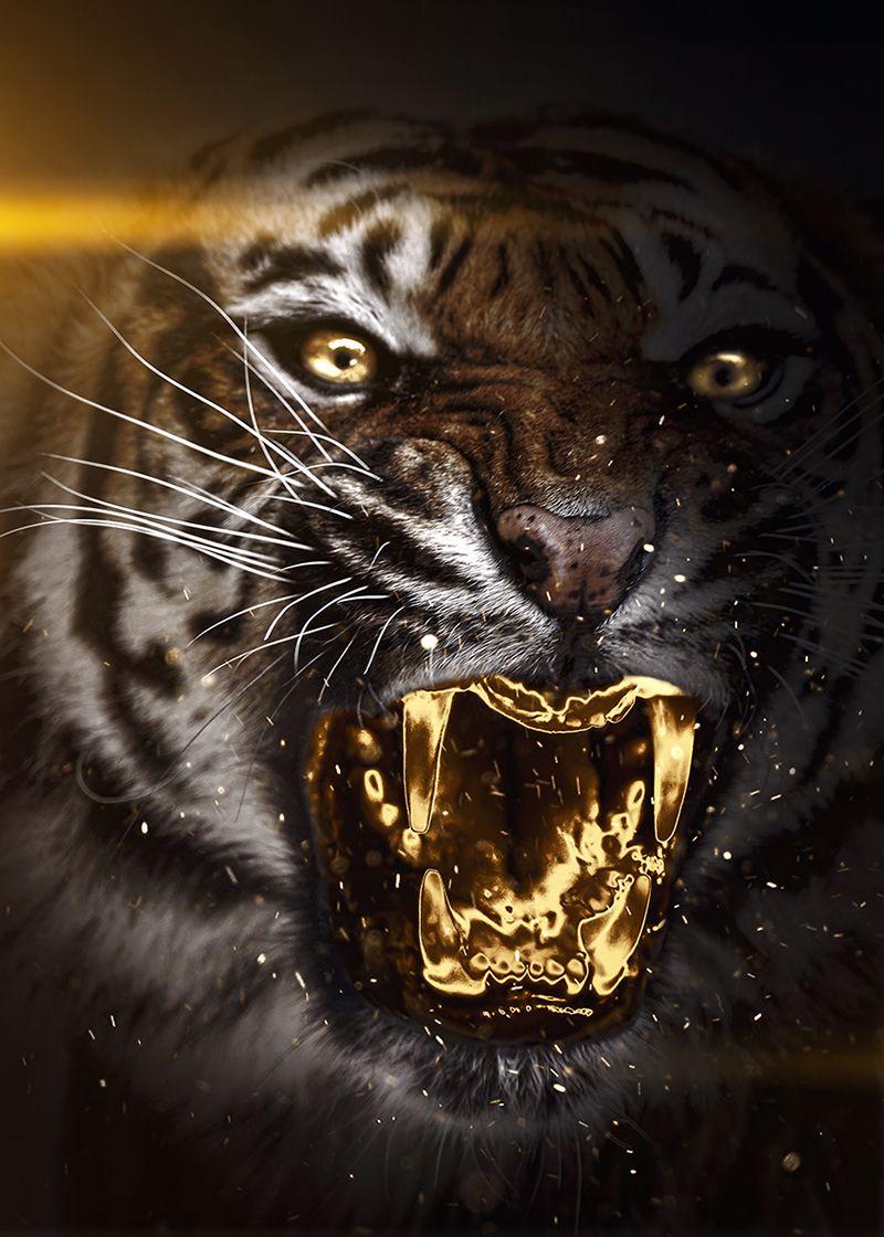 Golden Tiger Artwork Poster By Mk Studio Displate In 2021 Tiger Artwork Artwork Face Artwork