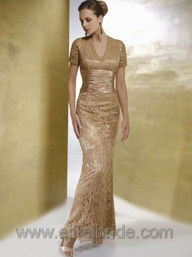 Gold Mother Of The Bride Dresses Dress Gowns Short Sleeve
