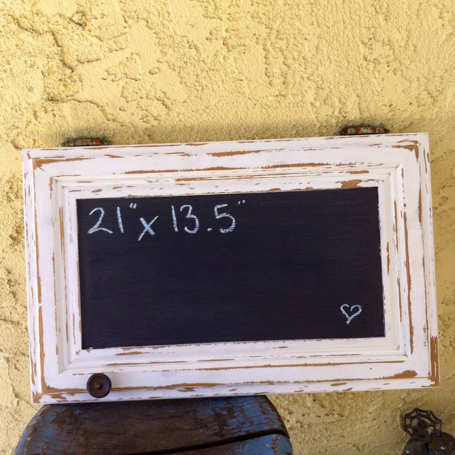 shabby chic chalkboard, distressed white paint, patina rusted