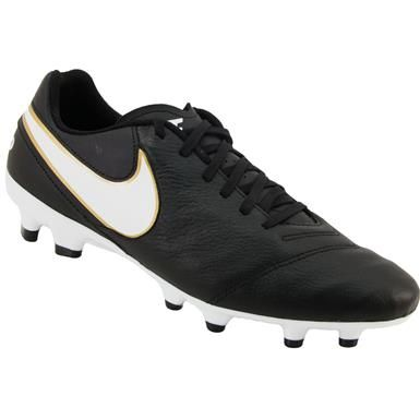Nike Tiempo Genio 2 Leather Outdoor Soccer Cleats Mens Black White Metallic Gold Online Cheap