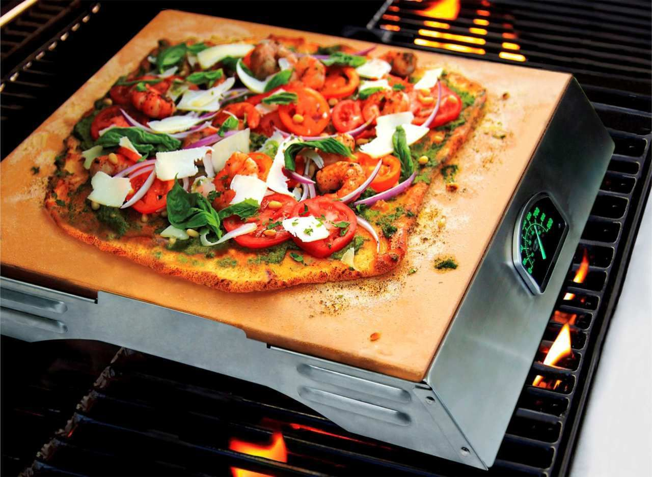 Man Law Pizza Stone Grill Topper (w/ thermometer), 65.67
