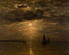 Hendrik Willem Mesdag (1831-1915)Kust bij maanlicht.