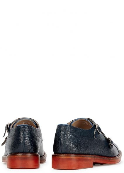 95b893610377 Abbott navy leather monk-strap shoes - Editorial