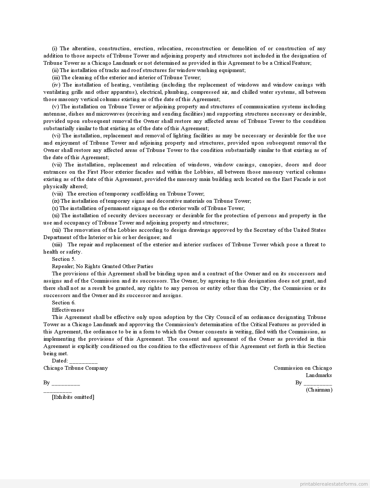 Printable Landmark Designation Agreement Tribune Tower Chicago