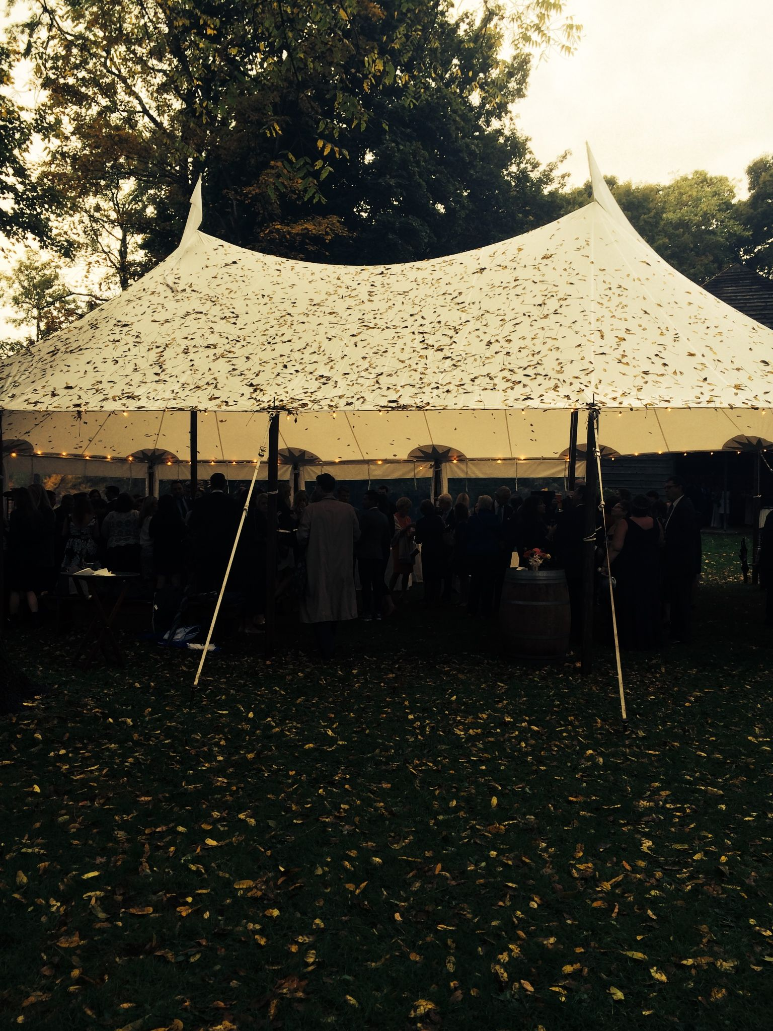 An outdoor fall wedding deserves a Tidewater Sailcloth tent! The leaves make a rainy day cocktail tent fit right in!