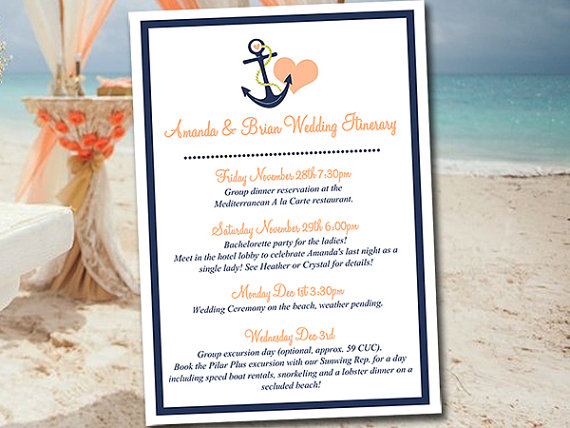 Beach Wedding Itinerary Template Wedding Planner Anchor Love Drk