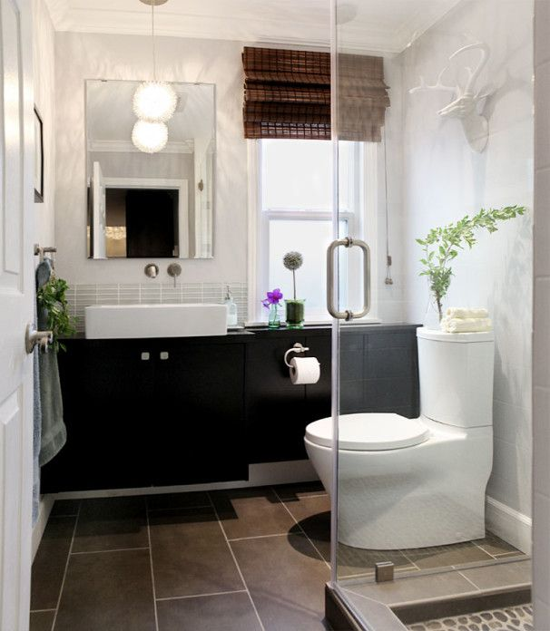 Bathroom Design, Black Vanity Ikea Bathroom Ideas With Modern White Sink And Faucet Also Mixer Tap Also White Traditional Windows Also Bamboo Drapes Also Modern White Toilet And White Deer Head Stuatue Also Brown Tile Floor: Ikea Bathroom Planner for Comfortable Bathroom