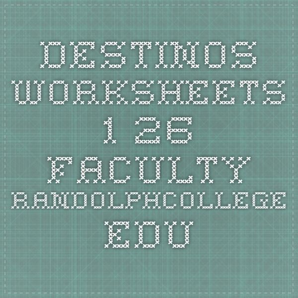 DESTINOS WORKSHEETS 126 facultyrandolphcollegeedu – Destinos Worksheets