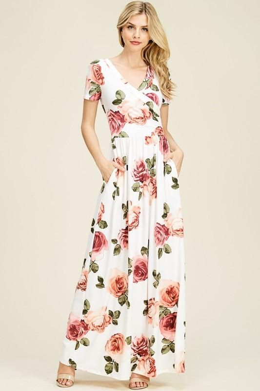 4dbef130f6 Rosy Bliss Wrap-Front Maxi Dress in 2019