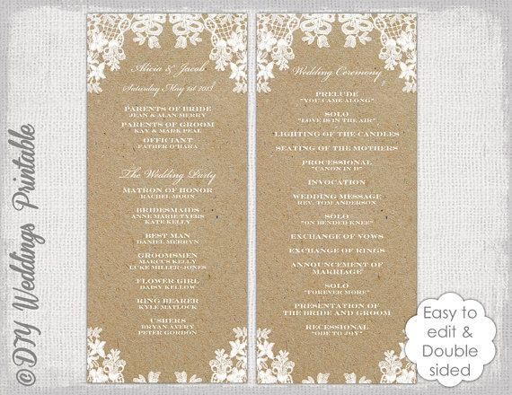 Rustic Wedding Program Template Lace DIY Ecru Kraft Order Of Ceremony Printable YOU EDIT In