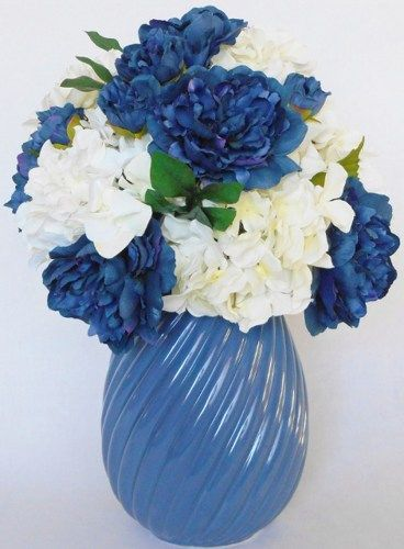 Silk Flower Arrangement Navy Peonies White Hydrangea Blue Vase Flower Vase Arrangements Flower Arrangements Herb Garden Design
