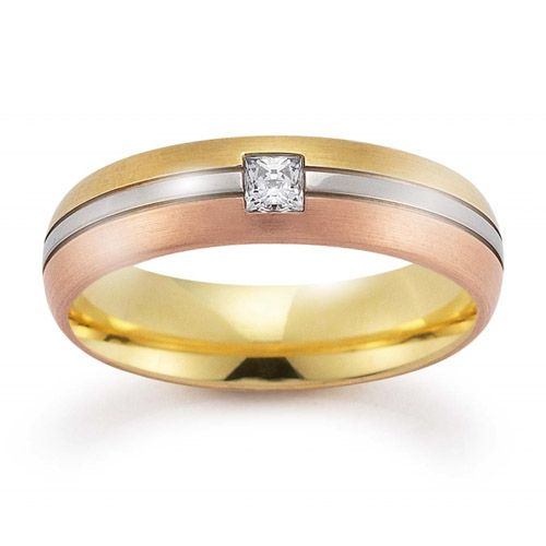 stylish triple colour wedding ring with princess diamond from woolton hewitt rainbow triple colour white yelloww and pink golf lgbt wedding rings for - Lgbt Wedding Rings