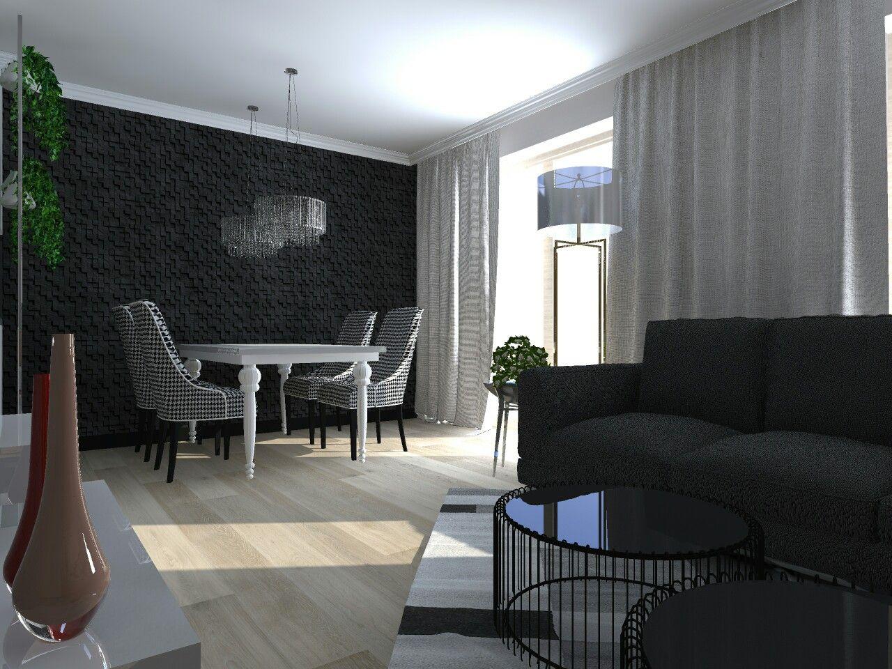 Projekt salonu w bloku | Ano Studio Projekty Wnętrz | Pinterest ...