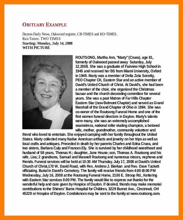 Obituary Examples business template Pinterest Templates