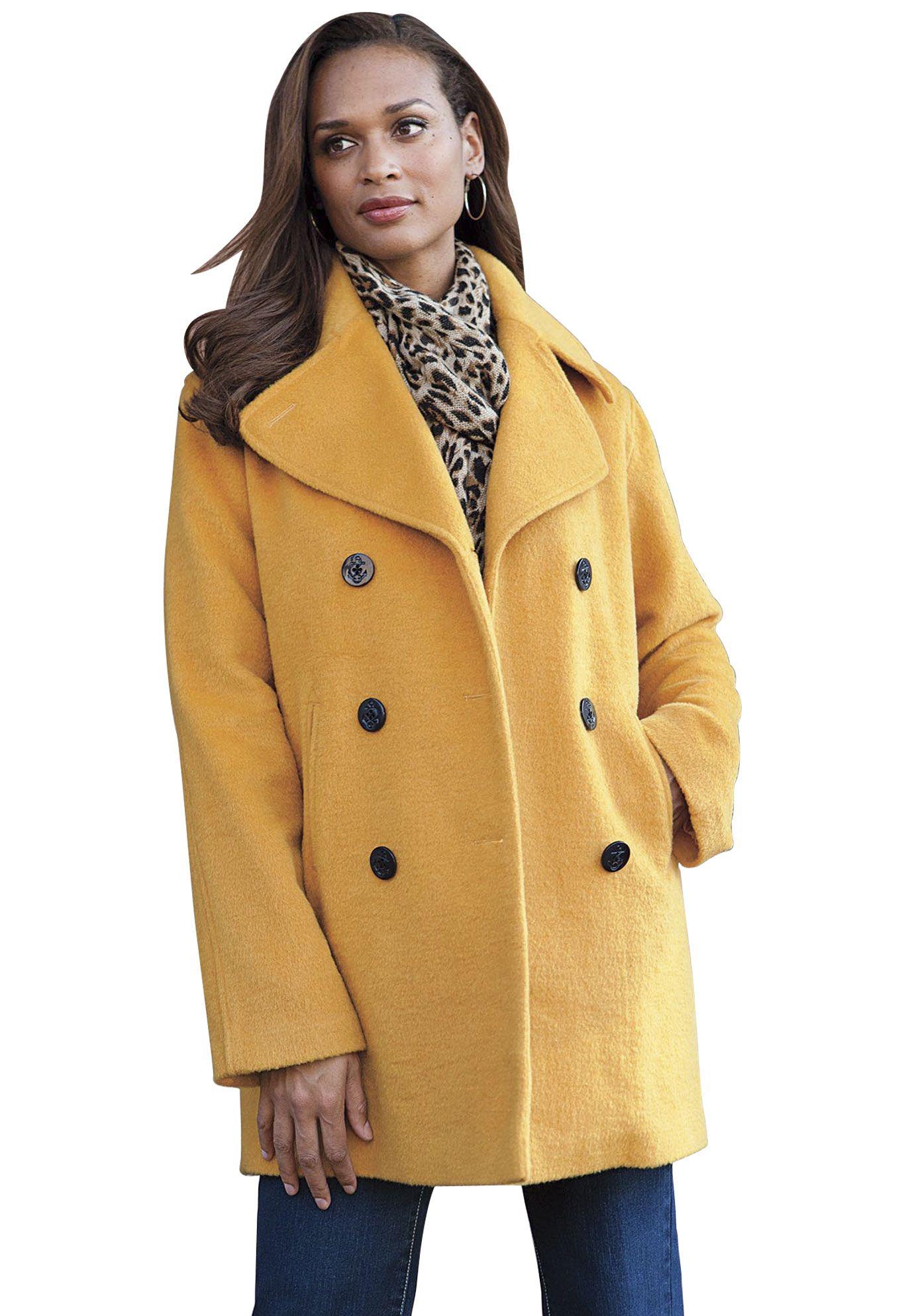 Plus Size Classic Wool Pea Coat image | MUSTARD ...