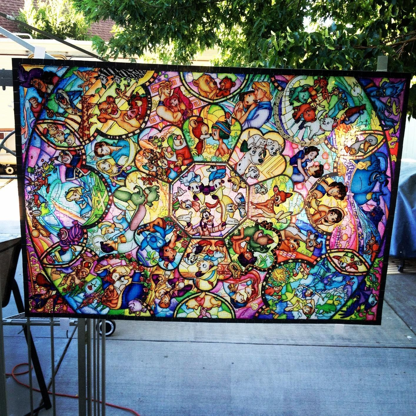Disney Stained Glass Puzzle.Amazon Com Disney Stained Art Jigsaw Puzzle 1000p All