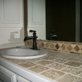Ceramic Tile Vanity Top Design Ideas Pictures Remodel And Decor Tile Countertops Tiled Countertop Bathroom Countertop Design