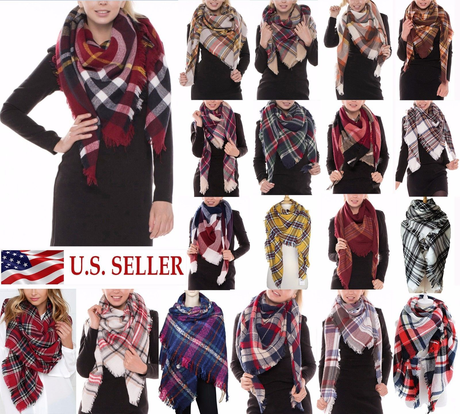 Red Lady Women Winter Long Scarf Wrap Blanket Oversized Shawl Plaid Check Tartan