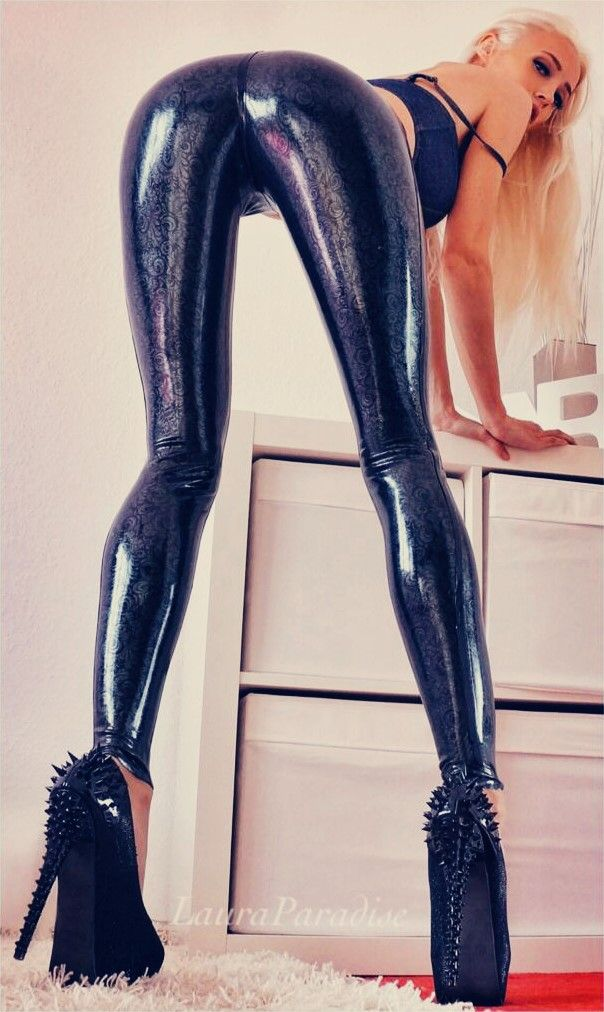 Skin tight shiny latex