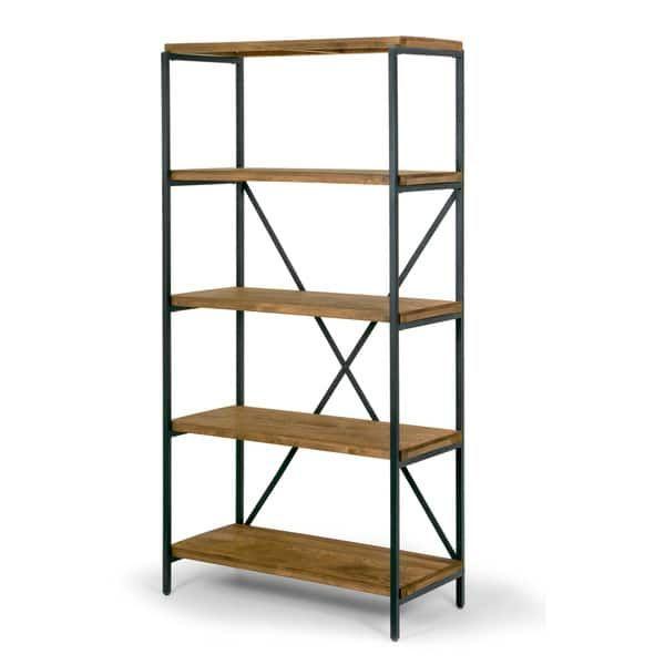 Ailis 67 Brown Pine Wood Shelf Etagere Bookcase Media Center With Metal Frame Pekerjaan Kayu Kayu