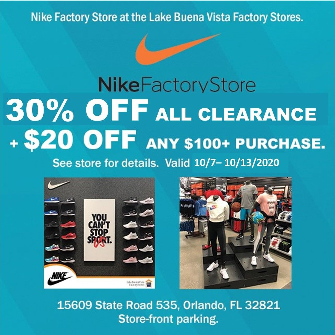 This Nike Factory Store Is A Must Shop At The Lake Buena Vista Factory Stores Easy In And Out And Store Front Park Nike Factory Lake Buena Vista Factory Store