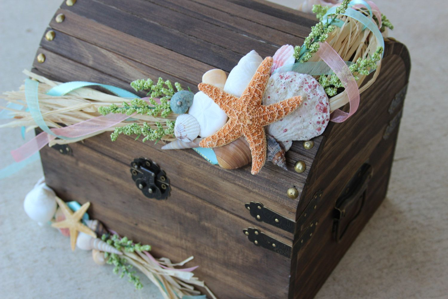 Wedding decoration ideas at the beach  Medium Stained Beach Themed Wedding Treasure ChestCard Holder or