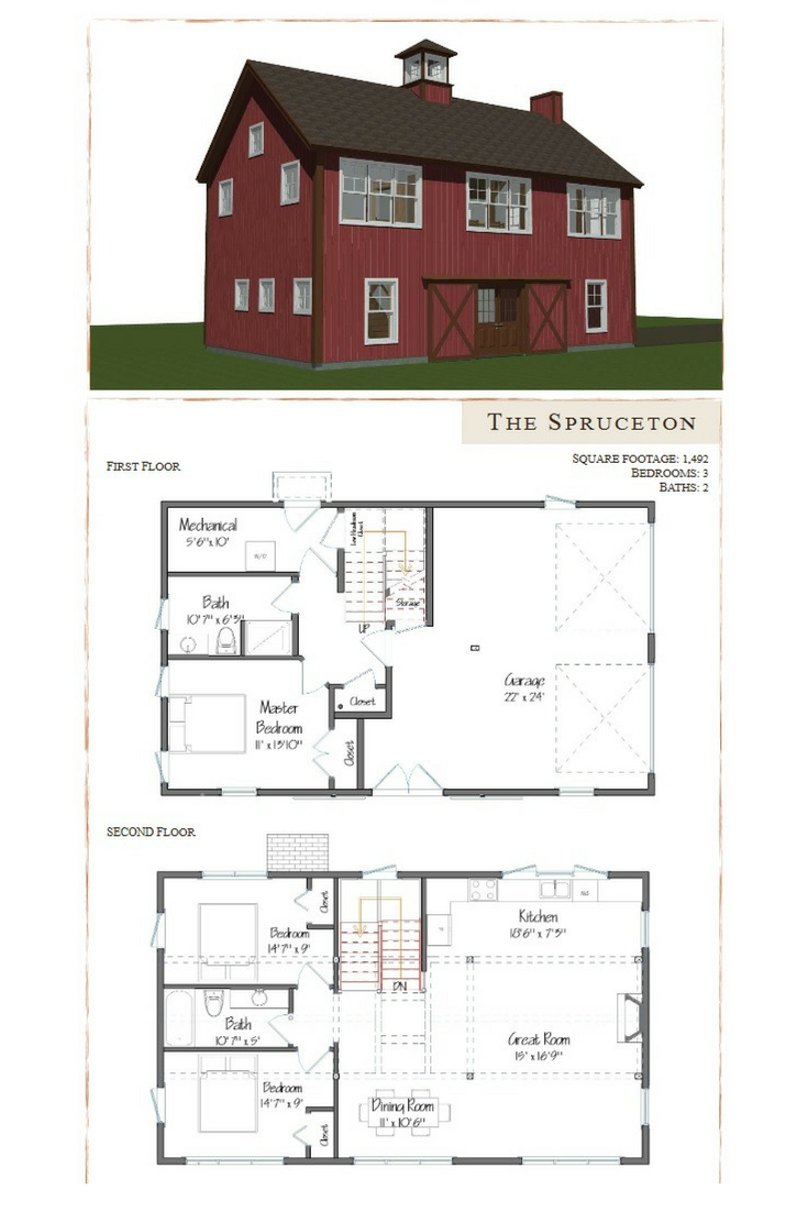 Carriage House Barn Style Design Is A 1 492 Square Feet 3 Bedroom And 2 Bath Visit To See More Smallhouseplans