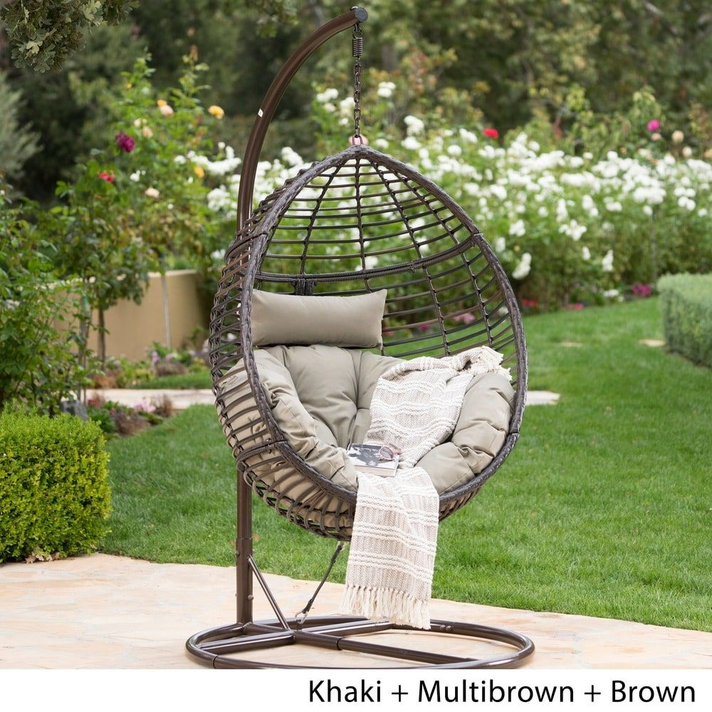 Layla Outdoor Wicker Hanging Basket Chair with Cushions by ...