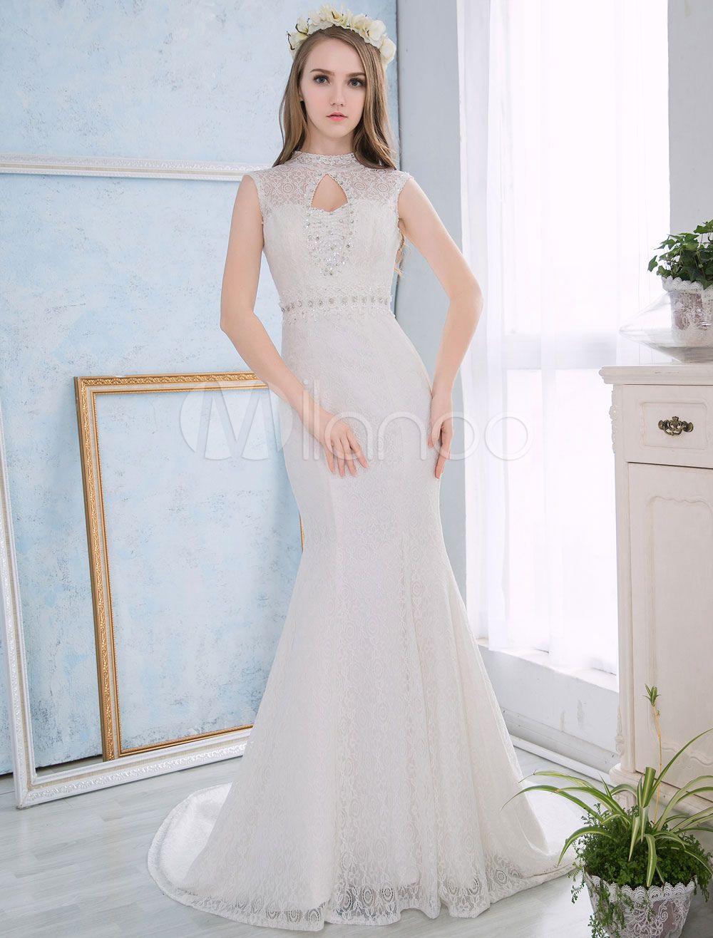 Mermaid Wedding Dresses Lace Ivory Bridal Dress Sleeveless ...
