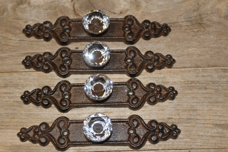 3 Cast Iron Backplate Vintage Furniture Restoration Drawer Pulls HW-55B