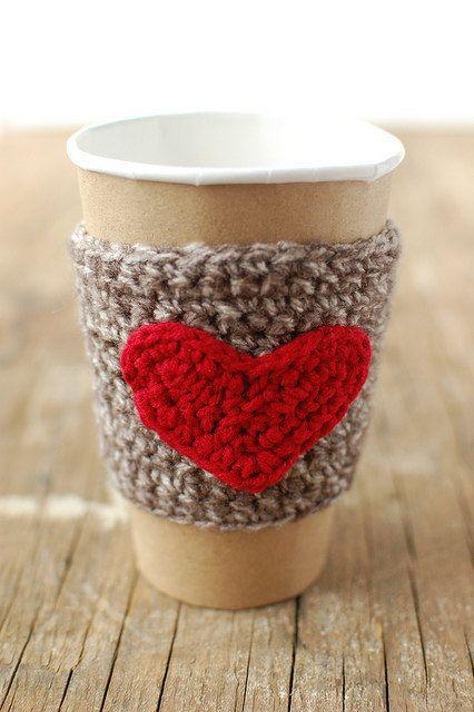 Herz Tasse gemütlich häkeln Kaffee Manschette von thecozyproject ...