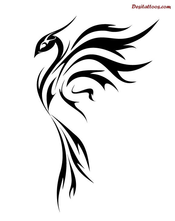 Simple Phoenix Tattoo Designs But With Red And Yellow And Orange