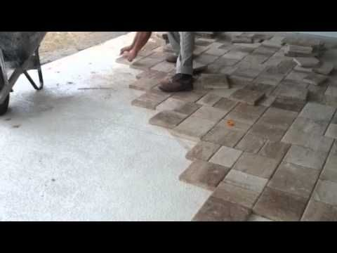 This Is How To Lay The Thin Pavers Over Concrete Great Idea To Makeover Front Stoop Concrete Patio Makeover Concrete Patio Pavers Over Concrete