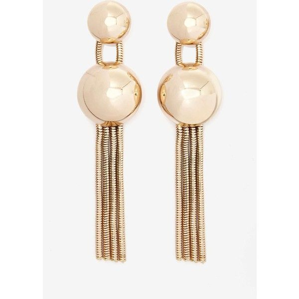 Bring It Dome Earrings (13.885 CLP) ❤ liked on Polyvore featuring jewelry, earrings, gold chain earrings, fake gold jewelry, fringe earrings, yellow gold earrings and imitation jewelry